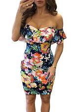 Abito aderente stampato Floreale Fiori Party Nudo scollo Floral Print Dress S