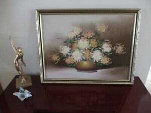 Vintage Framed Original Oil Painting Chrysanthemums in Gold Bowl - Signed