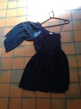 New Look Black One Sleeve Chiffon Dress Elastic Waist Size 12
