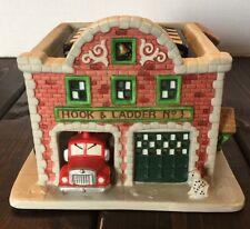 Christmas Village Hook & Ladder Firehouse Building House Holiday Decor Fireman