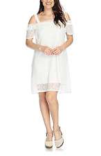 ONE WORLD WOMEN'S WHITE SHORT SLEEVE LACE LINED DRESS PLUS Sz 1X