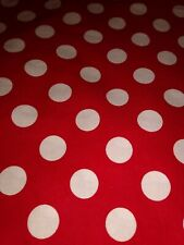 LARGE WHITE DOTS ON RED Fabric Scrap Quilt Sew