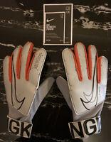 Nike GK MATCH Youth Unisex Football Gloves Goal Keeper Chrome Silver Red Black