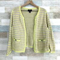 Lands End Drifter Stripe Cardigan Sweater Yellow Beige Chunky Knit Womens Large