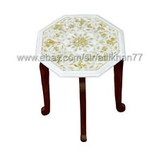 Marble Inlay Accent Table Living Room Side Table Italian Pietra Duta Table