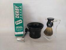 NEW Merkur Solingen Razor, Derby blades, Van Der Hagen cup brush, hipster manly!