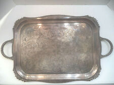 VINTAGE Viners of Sheffield Alpha Plate Chased Silver Plate Serving Tray Handle