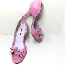 Women's Rampage Pink Peep Toe Bow High Heel Pumps Size 8.5 M