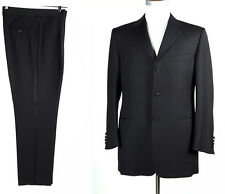 Canali 38R Wool Tuxedo Suit Solid Black 3 Btn Pleated Pants 32W 32x31 MADE ITALY