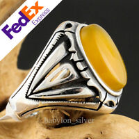Natural Yellow Agate 925 Sterling Silver Turkish Handmade Men's Ring All Size