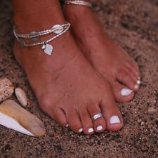 Women Chic Retro Silver Plated Beach Opening Toe Ring Foot Jewelry Adjustable
