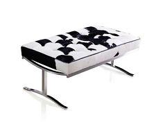 Short Stylish Bauhaus Seating Bench 100 Cm Stainless Steel & Real Leather 160 Cowskin Black