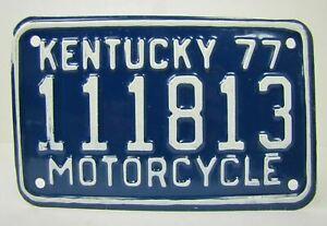1977 KENTUCKY MOTORCYCLE License Plate 111813 77 embossed metal