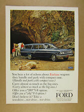 1964 Ford Fairlane Ranch Station Wagon blue car photo vintage print Ad