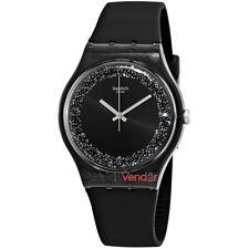 Swatch Darksparkles Black Dial Black Silicone Ladies Watch SUOB156