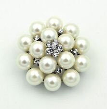 Silver & Ivory White Pearls Flower Bridal Wedding Corsage Brooch Pin Br266