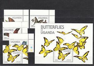 Uganda, 1984 Butterflies 407-11, Block 47, (32777)