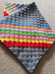 Handmade crochet blanket Grey Rainbow Pram Or Car Seat Baby Gift, Baby Shower