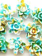 10pcs Sky blue Resin lotus Flower flatback Appliques For phone/wedding/crafts#