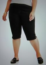 02069a1074d54 Terra   Sky Women s Pull on Shorts 1x 16w-18w Stretch Black Denim 2 Pockets