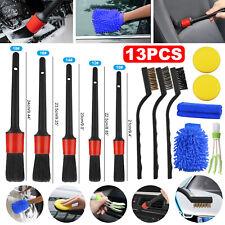 13pcs Car Detailing Brush Kit Boar Hair Vehicle Auto Engine Wheel Clean Brushes