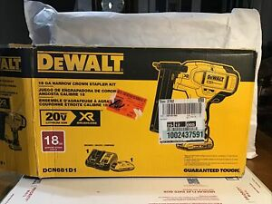 DeWalt DCN681D1 NARROW CROWN STAPLER KIT/COMLETE WITH CASE,BATTERY AND CHARGER