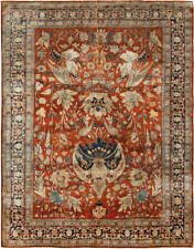 19th Century T a b r i z Silk Red and Navy Blue Rug BB6781