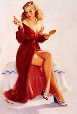 Framed Print - Elvgren Pin Up Girl Putting on Her Makeup (Picture Poster Art)