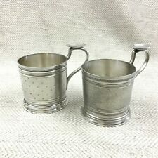 Antique Christofle Silver Plated Cup Tea Glass Holders Pair French Empire