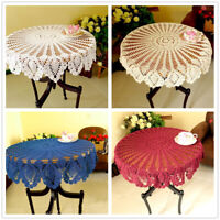 Vintage Round Lace Pineapple Flower Tablecloth Hand Crochet Cotton Table Topper