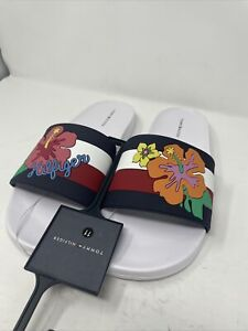 Tommy Hilfiger Derek-R Slides White Flowers Beach Sandal Size 11