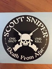 Scout Sniper Death From Afar Sticker Decal Recon USMC Marine Corps Military Army