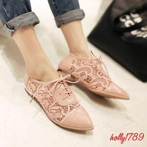 Pointy Toe Lace Mesh hollow out Floral Leisure Patent leather Women Oxford Shoes