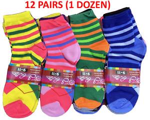12 Pairs Women's High Ankle Socks In Diamond Plaid Striped Print Sock Size 9-11