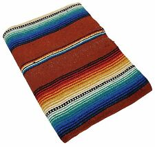 #776 Blanket Throw Sarape Bed Cover Terracota Mexico Beach Yoga Mat Travel Park