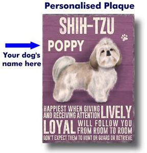 PERSONALISED Shih-Tzu Dog Breed Plaque Sign gift Any Name wall door vintage