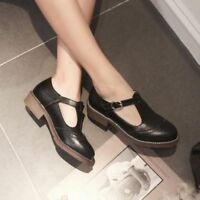 New Brogue Women T Strap Flats Mary Jane Wing Tip Oxfords Lolita Round Toe Shoes