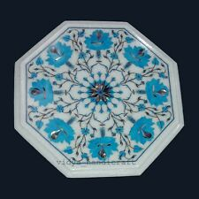 "12"" White Marble Octagon Center Table Top Turquoise Stone Inlay Floral Pattren"