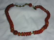 VINTAGE MIRIAM HASKELL ORANGE RED STONE CHOKER NECKLACE!