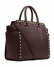 Michael Kors Selma North South Large Stud Satchel Coffee Brown Handbag Bag NEW