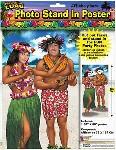 Photo Stand In Poster Hawaiian Luau theme 30 X 60 two person couples party prop