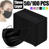 50 PCS Face Mask Mouth & Nose Protector Respirator Masks with Filter Black