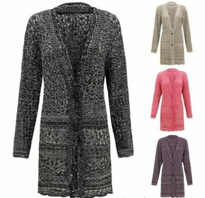 Womens 2 Button 2 Tone Knitted Ladies Cardigan Cable Crochet Sweater