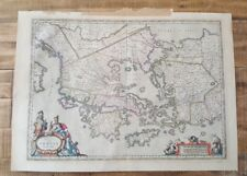ANTIQUE COLORED RARE MAP / GREECE & VICINITY, Circa 1648 by Jan Jansson