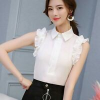 Top T-Shirt Blouse Summer Ladies Fashion Chiffon Sleeveless Loose Shirt Women