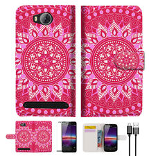 Hot Pink AZTEC TRIBAL Wallet TPU Case Cover For HUAWEI Y3 II 2 -- A004