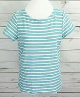Kim Rogers Top Womens Petite Large PL Blue Striped Short Sleeve Cotton Blouse