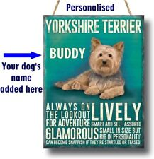 PERSONALISED Yorkshire Terrier Yorkie Dog Breed Plaque Sign gift wall vintage
