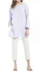 Eileen Fisher PP Wisteria Organic Linen Grid Ballet Neck Tunic NWT $238