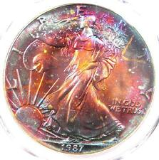 1987 Toned American Silver Eagle Dollar $1 ASE - PCGS MS68 - Rainbow Toning !